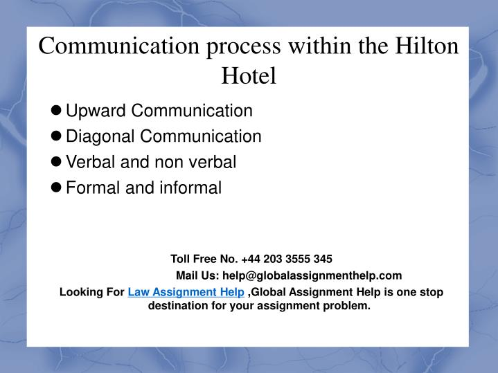 Communication process within the Hilton Hotel