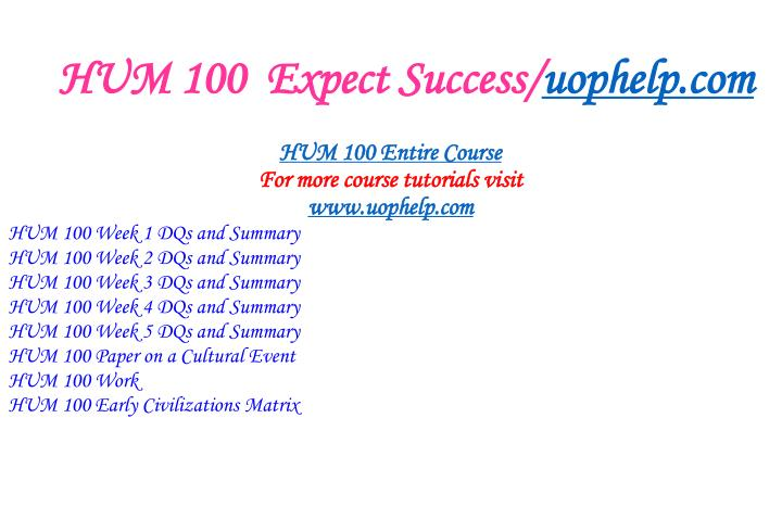 Hum 100 expect success uophelp com1