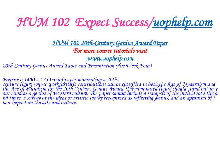 Hum 102 expect success uophelp com1
