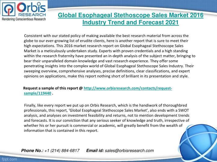 Global esophageal stethoscope sales market 2016 industry trend and forecast 20211