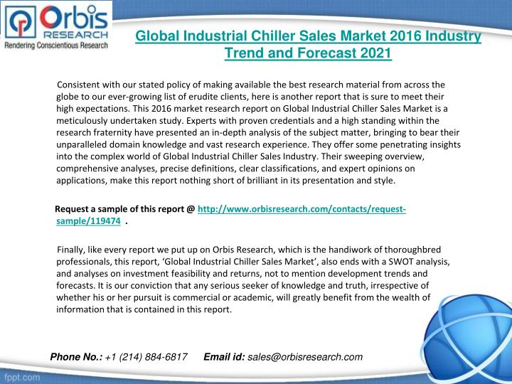 Global industrial chiller sales market 2016 industry trend and forecast 20211