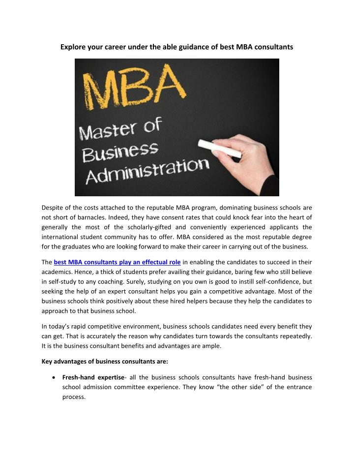 Explore your career under the able guidance of best MBA consultants
