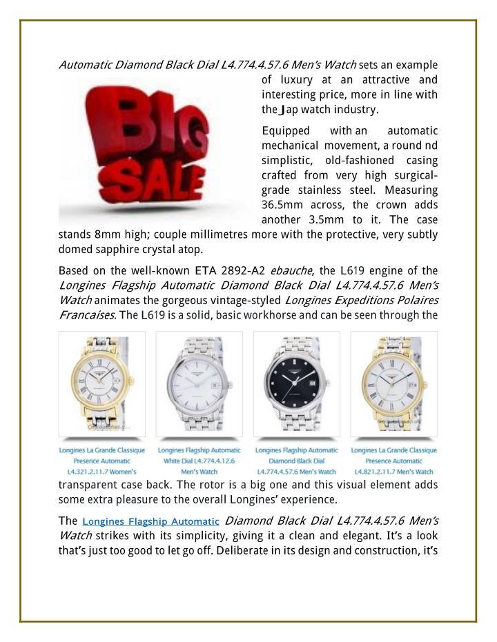 Automatic Diamond Black Dial L4.774.4.57.6 Men's Watch