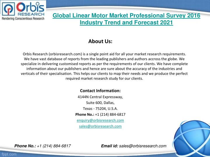 Global linear motor market professional survey 2016 industry trend and forecast 20212