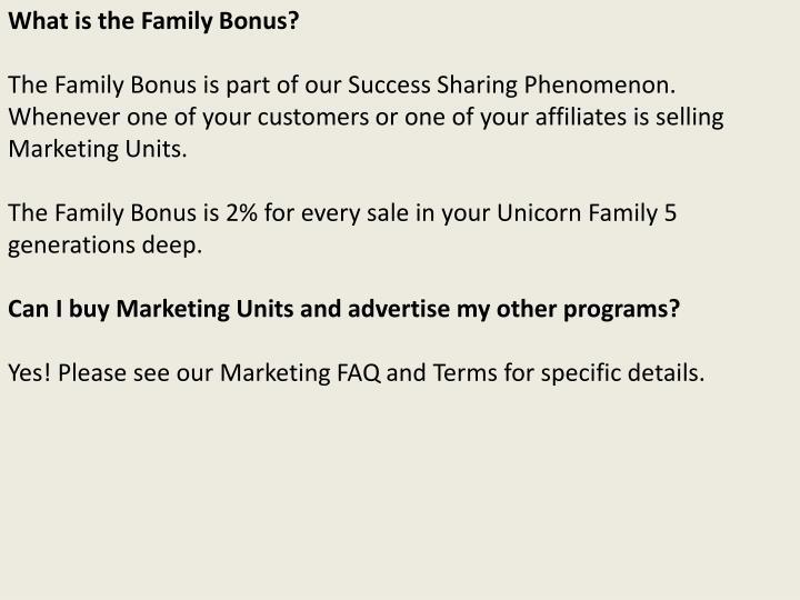What is the Family Bonus