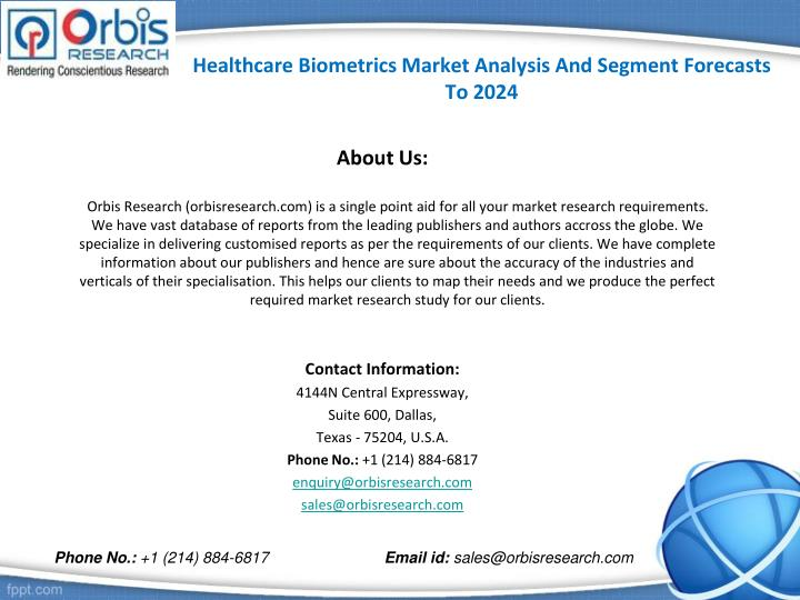 Healthcare Biometrics Market Analysis And Segment Forecasts To 2024