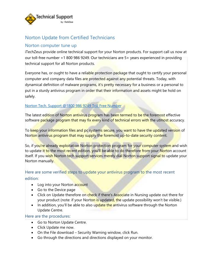 Norton Update from Certified Technicians