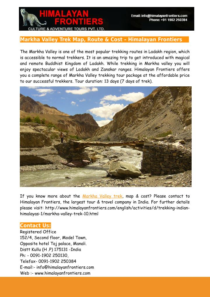 Markha Valley Trek Map, Route & Cost – Himalayan Frontiers