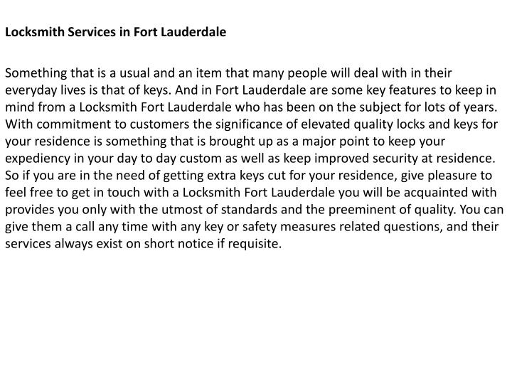 Locksmith Services in Fort Lauderdale