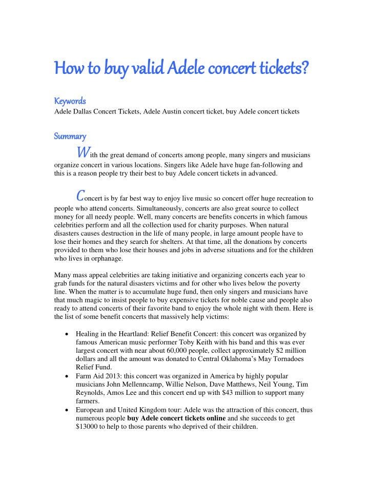 How to buy valid Adele concert tickets