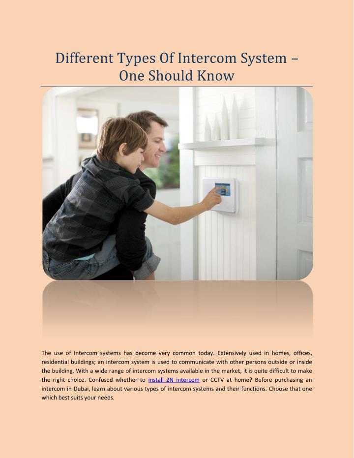Different Types Of Intercom System –