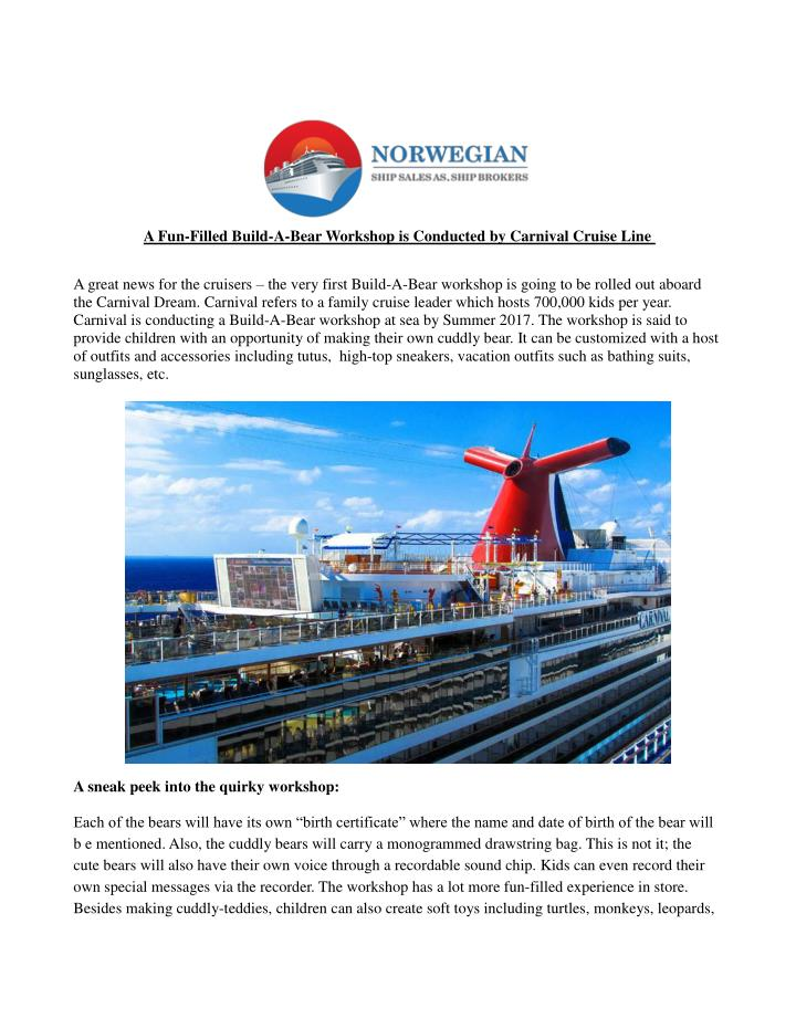 A Fun-Filled Build-A-Bear Workshop is Conducted by Carnival Cruise Line