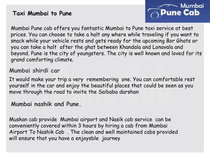 Taxi Mumbai to Pune