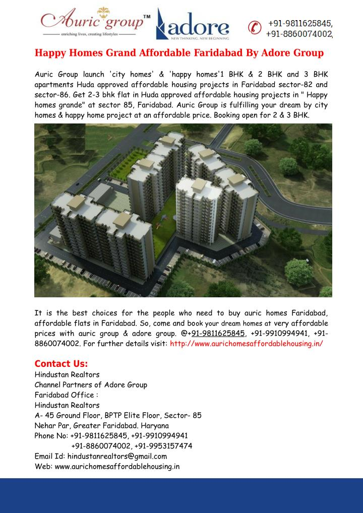 Happy Homes Grand Affordable Faridabad By Adore Group