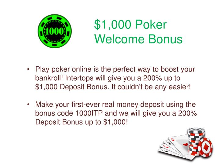 $1,000 Poker Welcome Bonus