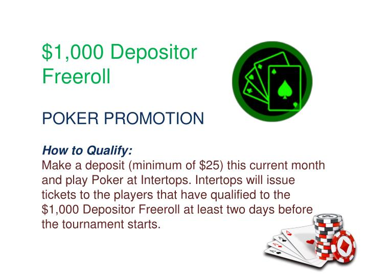 $1,000 Depositor Freeroll