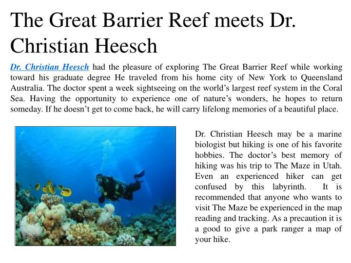 The Great Barrier Reef meets Dr. Christian Heesch