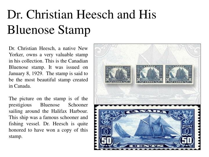 Dr. Christian Heesch and His Bluenose Stamp