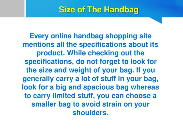 Size of The Handbag