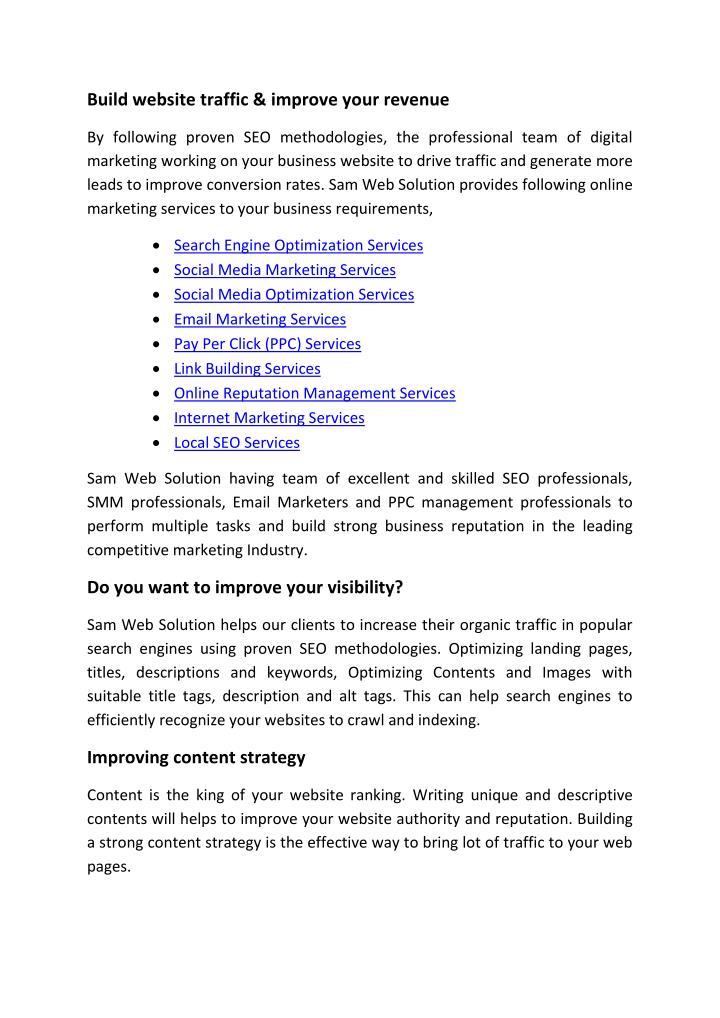 Build website traffic & improve your revenue