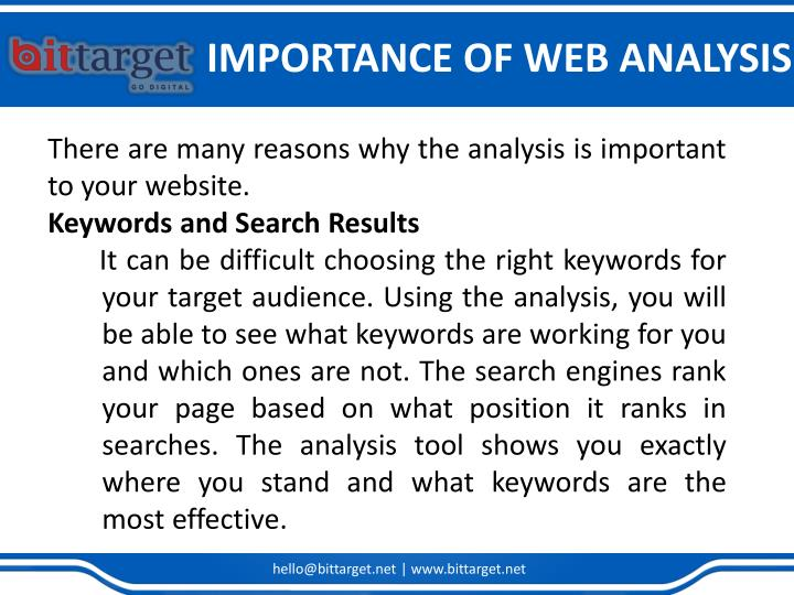 IMPORTANCE OF WEB ANALYSIS