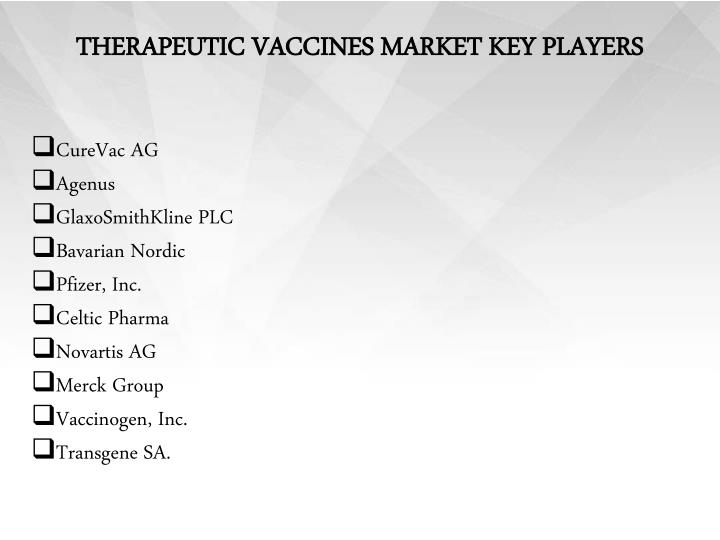 THERAPEUTIC VACCINES MARKET KEY PLAYERS