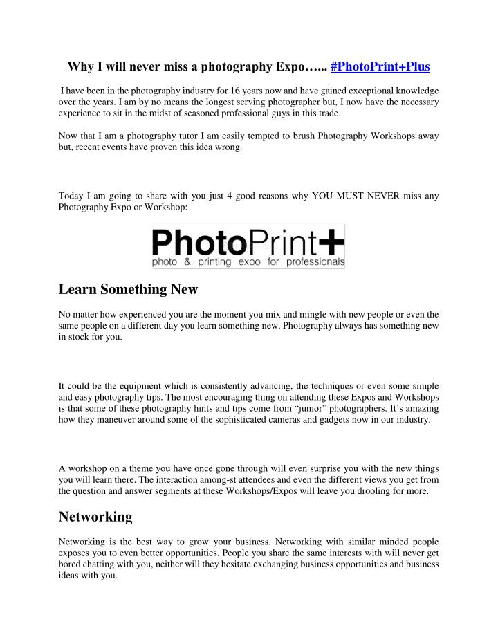 Why I will never miss a photography Expo…...