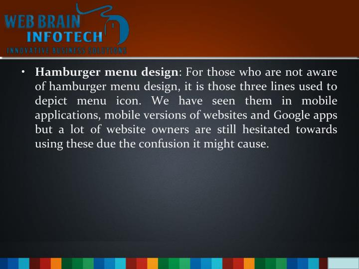 Hamburger menu design