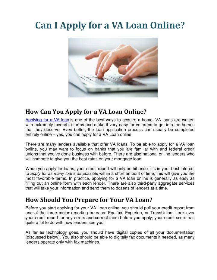 Can I Apply for a VA Loan Online?