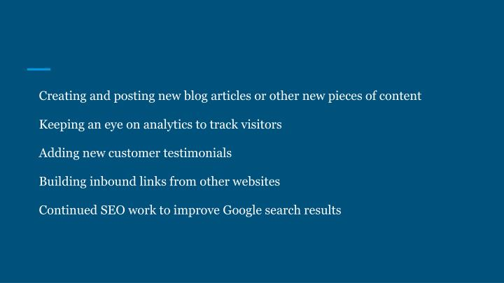 Creating and posting new blog articles or other new pieces of content