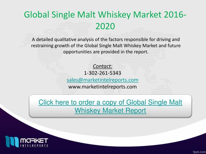 Global Single Malt Whiskey Market 2016-2020