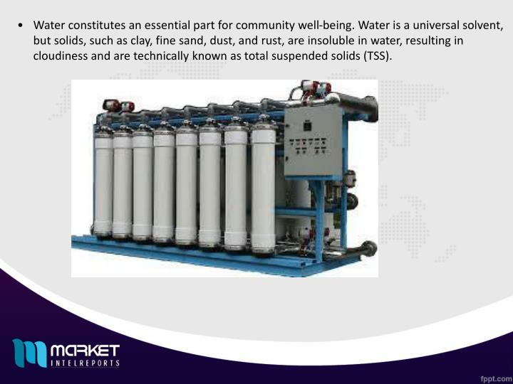 Water constitutes an essential part for community well-being. Water is a universal solvent, but solids, such as clay, fine sand, dust, and rust, are insoluble in water, resulting in cloudiness and are technically known as total suspended solids (TSS).