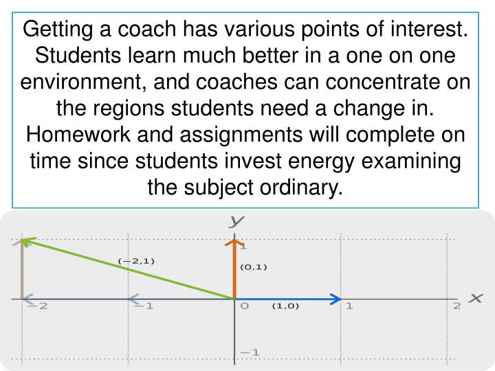 Getting a coach has various points of interest. Students learn much better in a one on one environment, and coaches can concentrate on the regions students need a change in. Homework and assignments will complete on time since students invest energy examining the subject ordinary.