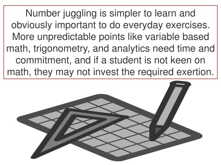 Number juggling is simpler to learn and obviously important to do everyday exercises. More unpredictable points like variable based math, trigonometry, and analytics need time and commitment, and if a student is not keen on math, they may not invest the required exertion.