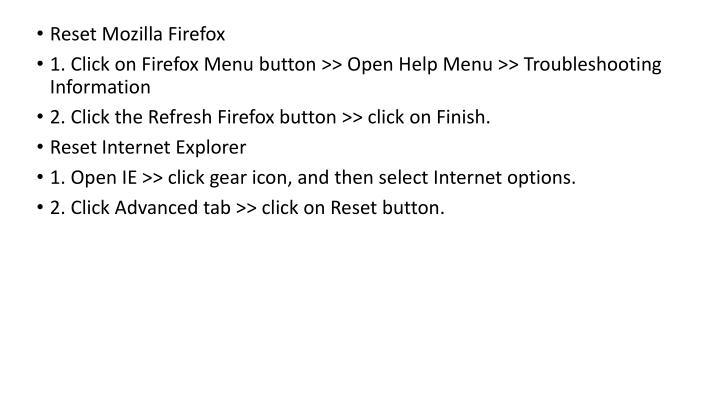 Reset Mozilla Firefox