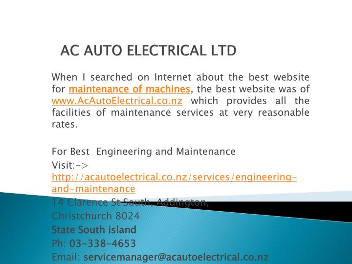 AC AUTO ELECTRICAL LTD
