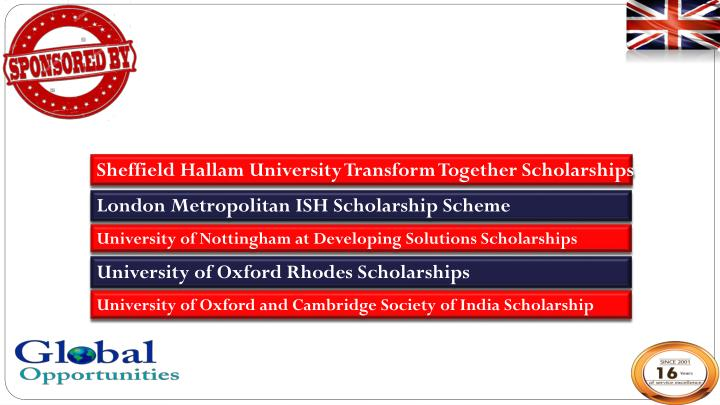 Sheffield Hallam University Transform Together Scholarships