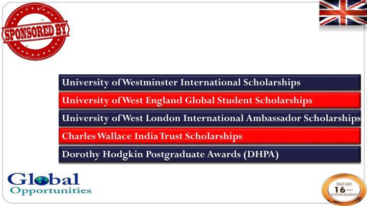 University of Westminster International Scholarships