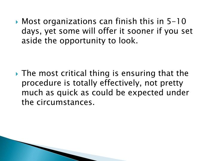 Most organizations can finish this in 5-10 days, yet some will offer it sooner if you set aside the opportunity to look.