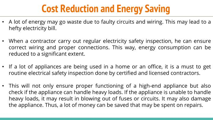 Cost Reduction and Energy Saving