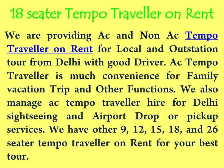 18 seater Tempo Traveller on Rent