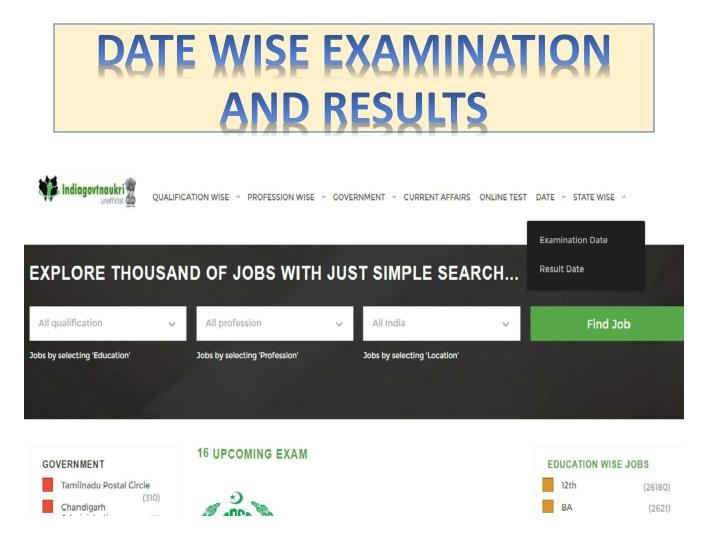 DATE WISE EXAMINATION AND RESULTS