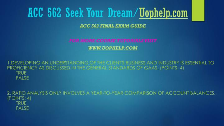 Acc 562 seek your dream uophelp com1