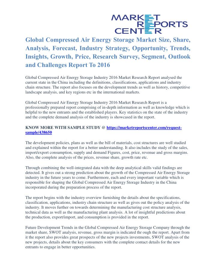 Global Compressed Air Energy Storage Market Size, Share,