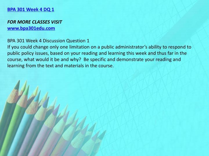 BPA 301 Week 4 DQ 1