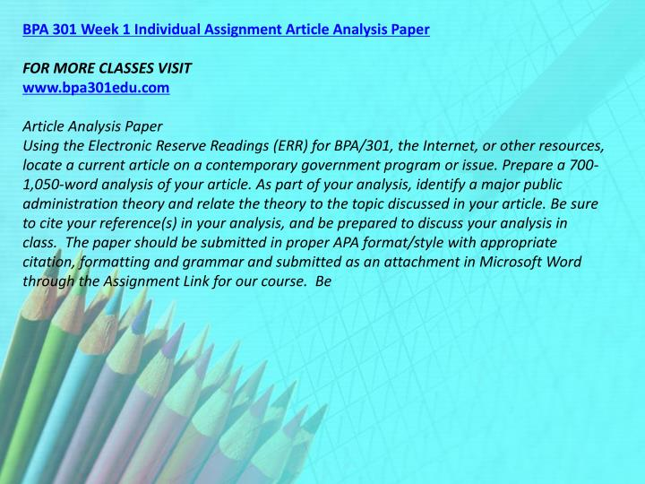 BPA 301 Week 1 Individual Assignment Article Analysis Paper