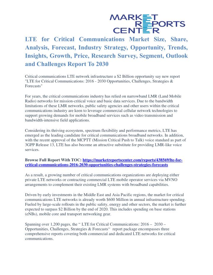 LTE for Critical Communications Market Size, Share,
