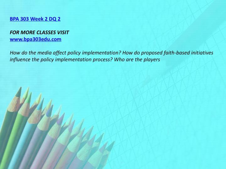 BPA 303 Week 2 DQ 2