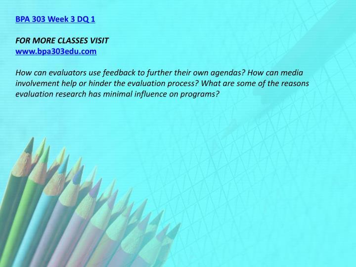 BPA 303 Week 3 DQ 1