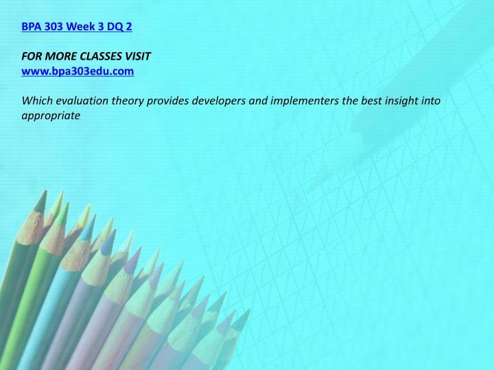 BPA 303 Week 3 DQ 2